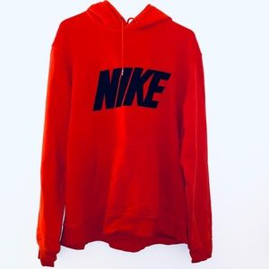 NIKE XL Red Long Sleeve Mens Hoodie embroired